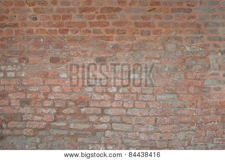 Old vintage orange red brick street rusty grunge wall texture background