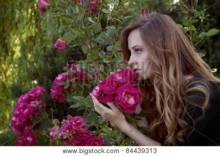 Beautiful Young Woman With Auburn Hair And Green Eyes Admiring Roses