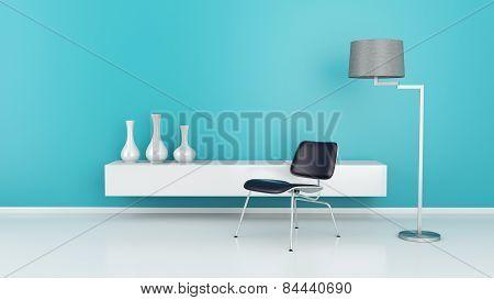 Modern interior room 3d.