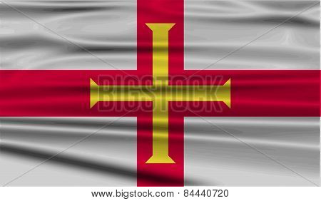 Flag Of Guernsey With Old Texture. Vector