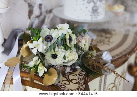 White Wedding Bouquet With Ranunculus