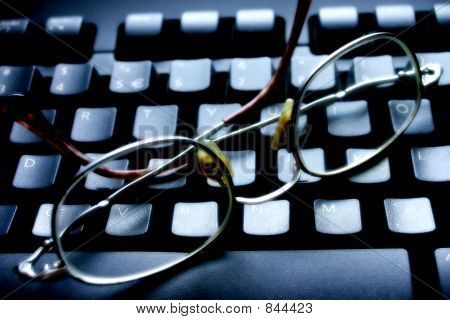 Spectacles on keyboard