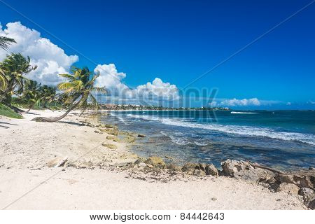 Akumal Beach At Caribbean Sea, Tropical Coast Near Cancun. Snorkeling Paradise, Mexico.