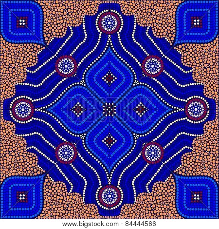 An Illustration Based On Aboriginal Style Of Dot Painting Depicting Strangers (orange)