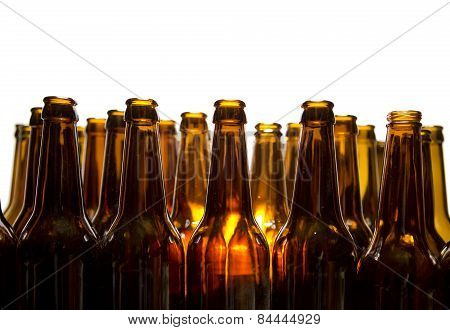 Empty glass beer bottles . Still-life in a sunny day