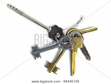 Bunch of keys . Still-life on a white background