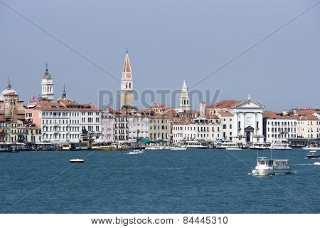 Skyline With Campanile Of St. Marco And Water Traffic In Summer Venice