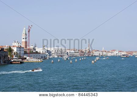 View To The City Center And Water Traffic In Summer Venice