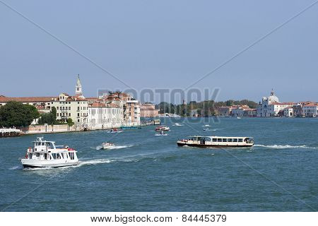 Water Traffic In Summer Venice