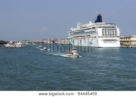 Cruise Liner In Summer Venice Harbor