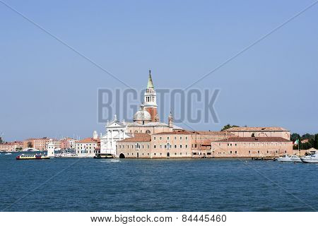 San Giorgio Maggiore And Water Traffic In Summer Venice