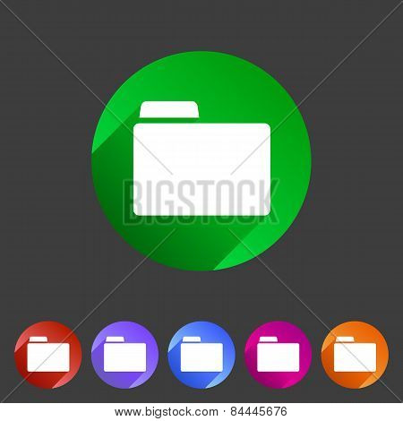 Folder attachment badge flat icon sign set symbol