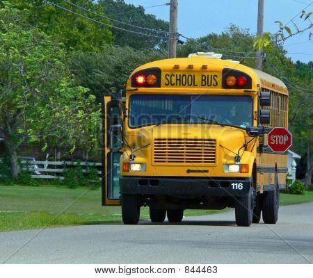 school bus unloading