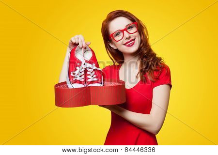 Girl With Gumshoes And Gift Box