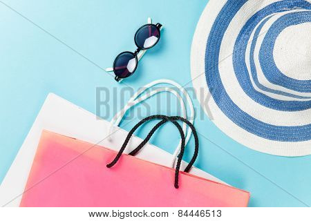 Shopping Bags And Sunglasses With Hat