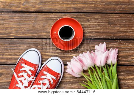 Gumshoes With Coffee And Tulips