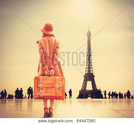 Redhead Girl With Suitcase