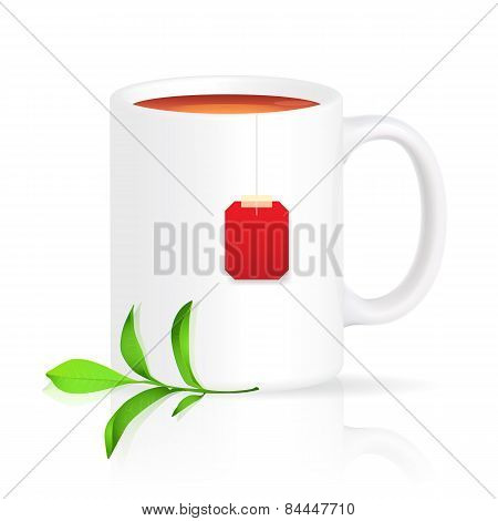 White cup of tea with red teabag and green branch