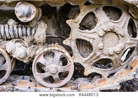 Road And Drive Wheels Of The Continuous Tracks