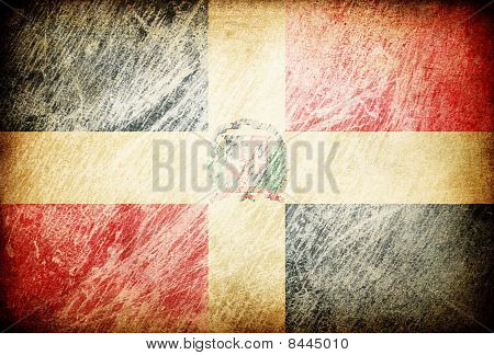 Grunge Rubbed Flag Series Of Backgrounds. Dominican Republic.