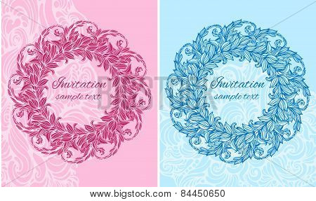 set of two cards with round floral ornament