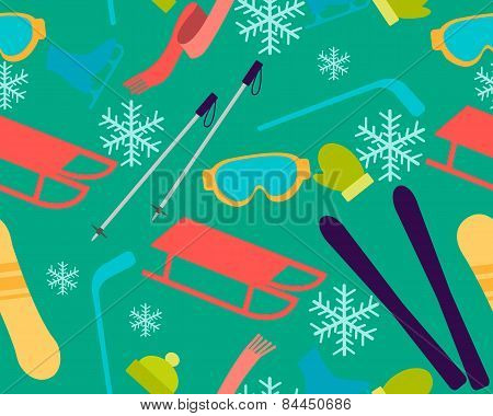 Winter vacation. Background sports accessories and equipment. Vector seamless pattern