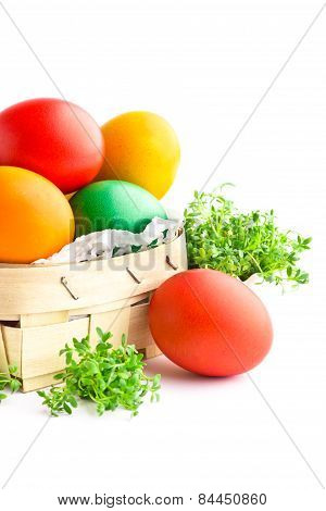 Beautiful Decorative Easter Eggs Isolated On White Background
