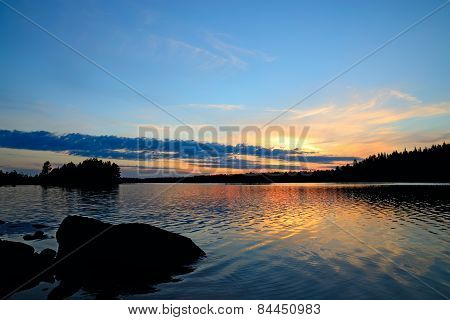 Romantic Sunset. North Karelia, Russia