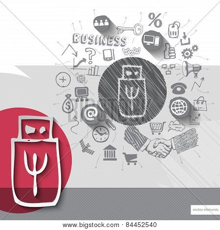 Paper and hand drawn flash emblem with icons background