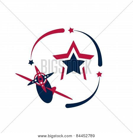 Vintage American Patriotic Airplane And Stars.