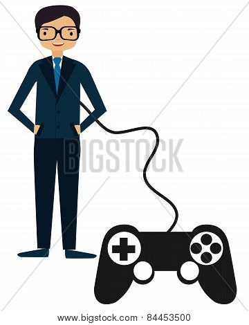 Perfect Man. Person controlled by a game controller. Vector illustration