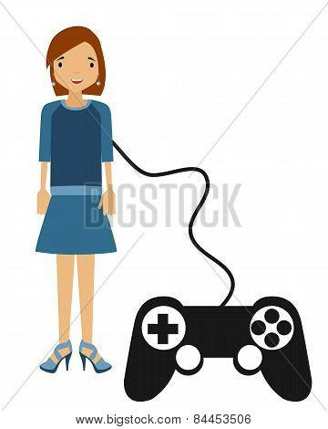 Perfect woman. Person controlled by a game controller. Vector illustration