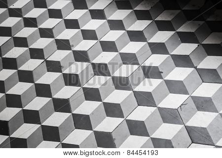 Old Black And White Tiling On The Floor, Cubic Pattern