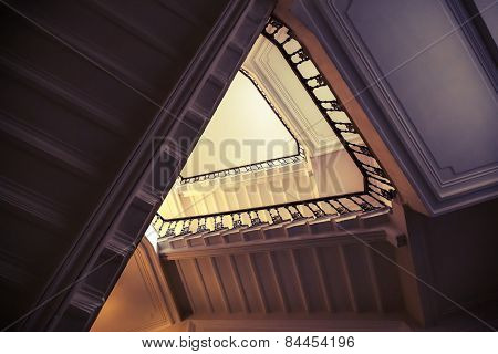 Abstract Interior Of Triangle Shaped Flight Of Stair