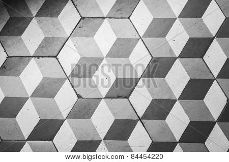 Ttiling On The Floor, Retro Style Cubic Pattern