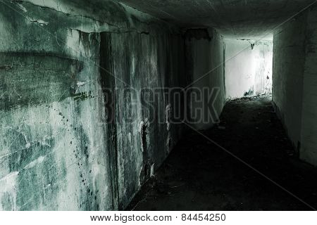 Empty Abandoned Bunker Interior With Glowing End