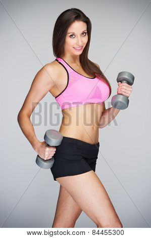 Slim Women With Training Dumbells