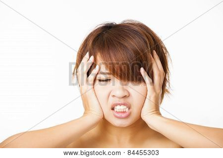Closeup Angry Young Woman And Yelling Screaming
