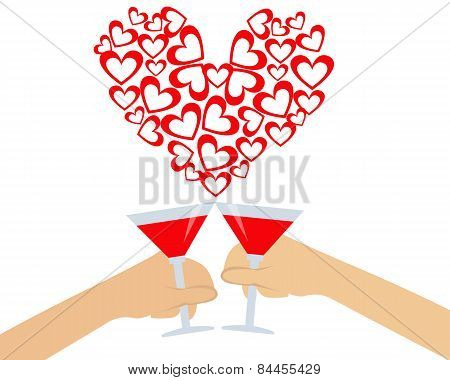 Greeting card for Valentine's day. Hand holding a glass of wine. Vector illustration
