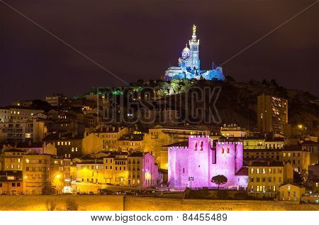 Notre-dame De La Garde And Abbey Of Saint Victor In Marseille - France