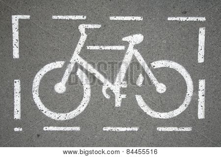 Bicycle Way Symbol On City Street As A Background