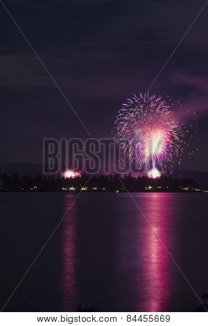 Fireworks Over A Lake