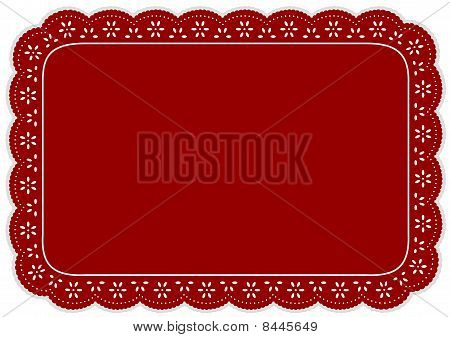 Red Eyelet Lace Place Mat