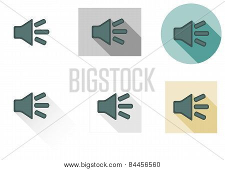 Set Of 6 Isolated Flat Sound Icons