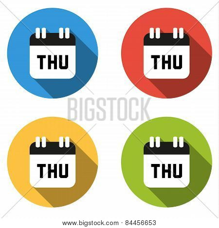 Collection Of 4 Isolated Flat Colorful Buttons For Thursday (calendar Icon)