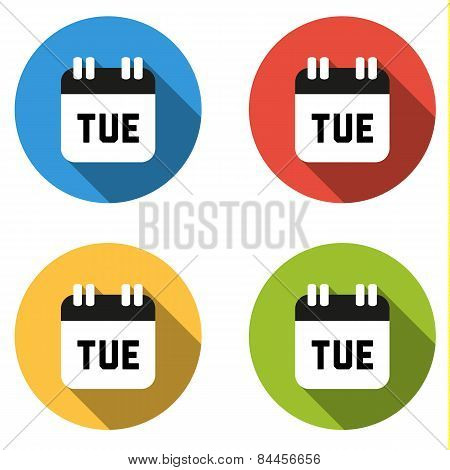 Collection Of 4 Isolated Flat Colorful Buttons For Tuesday (calendar Icon)