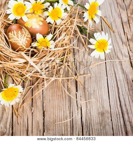 Brown Eggs In A Nest And Flovers
