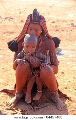 Himba Mum With Her Kid, Namibia