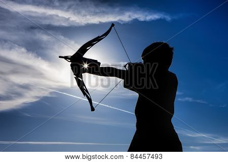 Silhouette Of Boy And Toy Bow.