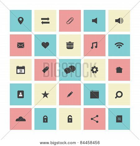 Square Flat Website Icons Set.
